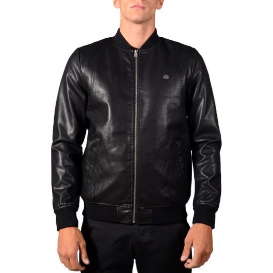 Basehit Ανδρικό Leather Μπουφάν 192.BM16.131 Black
